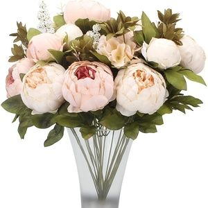 Vintage Artificial Silk Peony Flower Bouquet